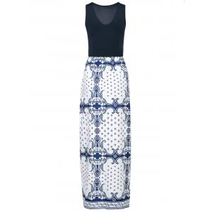 Sexy V-Neck Sleeveless Printed Maxi Dress For Women -