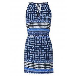Ethnic Style Jewel Neck Sleeveless Printed Cut Out Dress For Women -