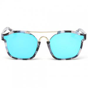 Chic Metal Bar Embellished Stone Pattern Sunglasses For Women - BLUE