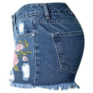 Floral Embroidered Frayed Denim Shorts -