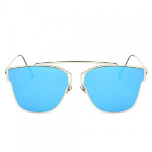 Hollow Out Silver Metal Frame Mirror Sunglasses