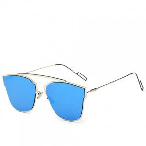Hollow Out Silver Metal Frame Mirror Sunglasses - ICE BLUE
