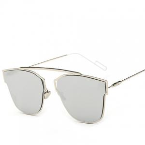 Hollow Out Silver Metal Frame Mirror Sunglasses -