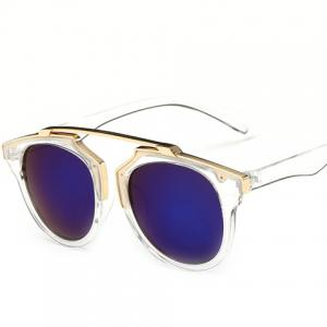 Chic Golden Metal Splicing Transparent Frame Sunglasses For Women -