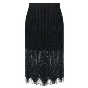 Chic Bowknot Design Lace Spliced Solid Color Women's Skirts -