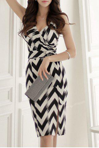 Shop Sexy Sleeveless Plunging Neck Zig Zag Women's Dress