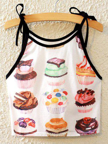 Outfit Stylish Spaghetti Strap Cake Print Lace-Up Tank Top For Women