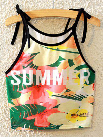 Chic Stylish Spaghetti Strap Printed Lace-Up Tank Top For Women