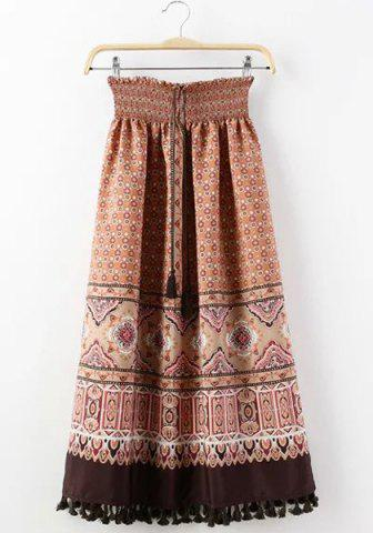 Shops Ethnic Style Elastic Waist Tassel Embellished Printed Skirt For Women