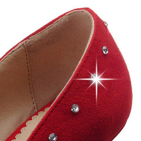 Outfit Stylish Suede and Solid Color Design Pumps For Women - 38 RED Mobile