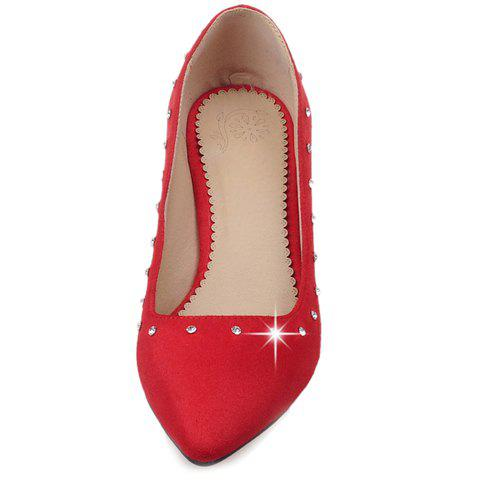 Buy Stylish Suede and Solid Color Design Pumps For Women - 38 RED Mobile