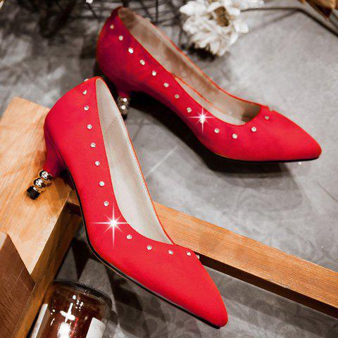 Latest Stylish Suede and Solid Color Design Pumps For Women - 37 RED Mobile