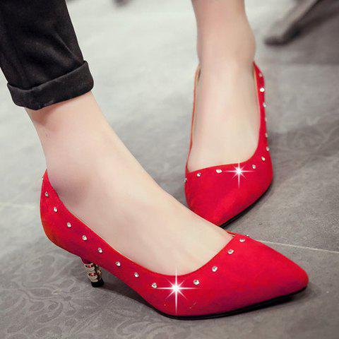 Chic Stylish Suede and Solid Color Design Pumps For Women - 37 RED Mobile