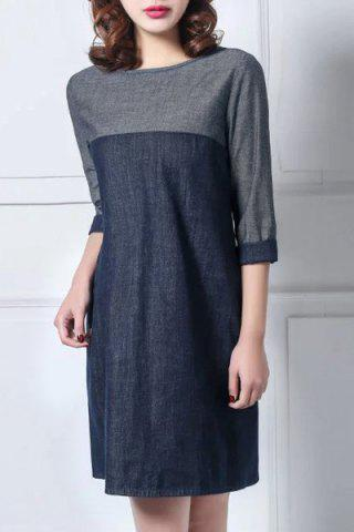 New Casual Round Collar Color Block 3/4 Sleeve Dress For Women