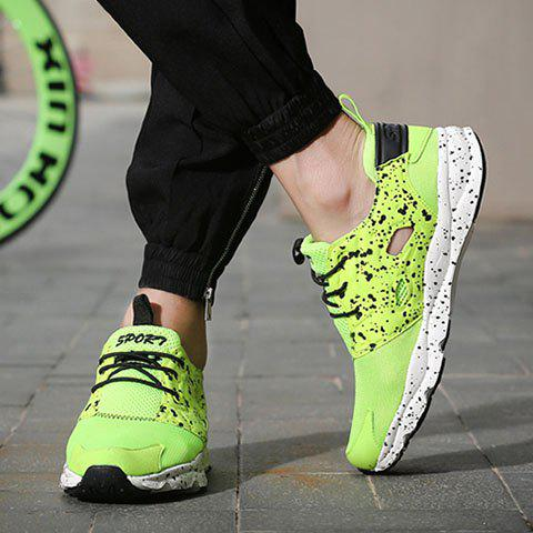Fancy Casual Cloth and Lace-Up Design Sneakers For Men - 43 GREEN Mobile