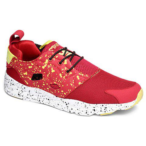 Trendy Casual Cloth and Lace-Up Design Sneakers For Men - 42 RED Mobile