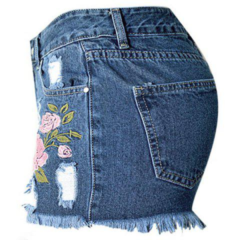 Trendy Floral Embroidered Frayed Denim Shorts - 2XL DEEP BLUE Mobile