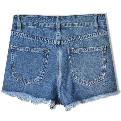 Fashion Floral Embroidered Frayed Denim Shorts - 2XL DEEP BLUE Mobile