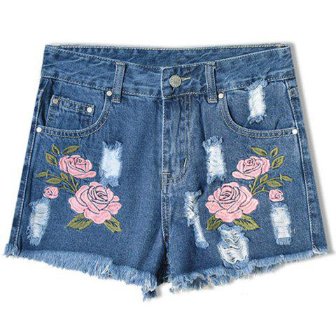 Hot Floral Embroidered Frayed Denim Shorts - 2XL DEEP BLUE Mobile