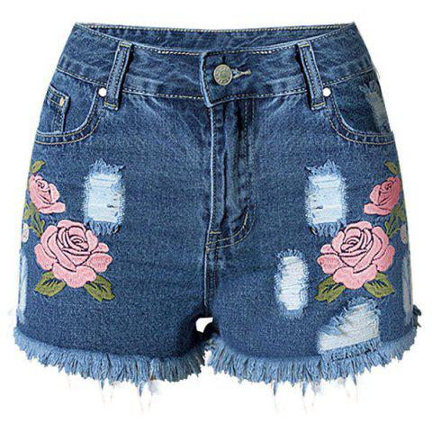 New Floral Embroidered Frayed Denim Shorts - 2XL DEEP BLUE Mobile