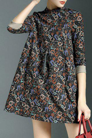 Chic Country Style Stand-Up Collar 3/4 Sleeve Printed Colorful Mini Dress For Women