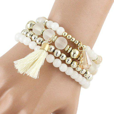 Cheap Multilayered Faux Crystal Beads Tassel Bracelet WHITE