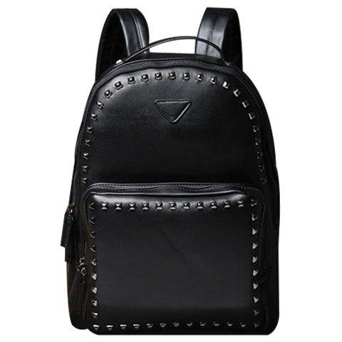 Discount Stylish Rivets and Black Design Backpack For Men BLACK