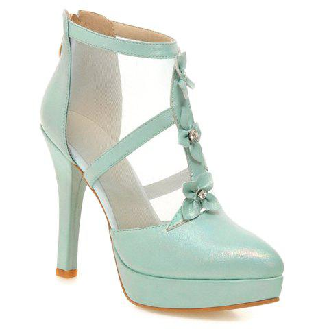 Hot Pretty Flowers and PU Leather Design Pumps For Women