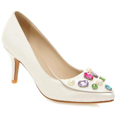 Trendy Pretty Rhinestones and PU Leather Design Pumps For Women