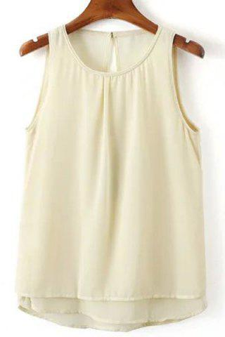 Outfit Sweet Round Neck Open Back Tank Top For Women OFF-WHITE S