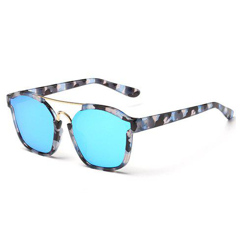 Sale Chic Metal Bar Embellished Stone Pattern Sunglasses For Women BLUE