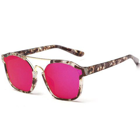 Chic Metal Bar Embellished Stone Pattern Sunglasses For Women - Brown