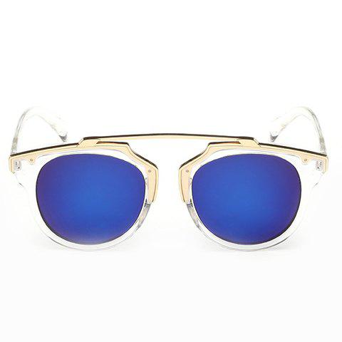 Sale Chic Golden Metal Splicing Transparent Frame Sunglasses For Women