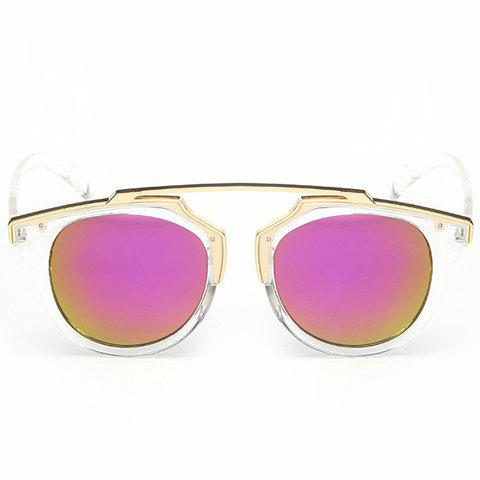 Fancy Chic Golden Metal Splicing Transparent Frame Sunglasses For Women