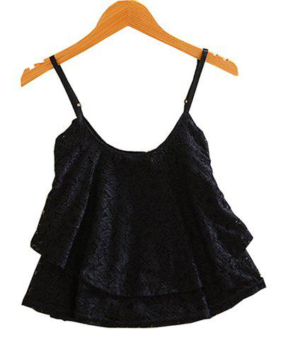 Online Stylish Spaghetti Strap Solid Color Lace Tank Top For Women
