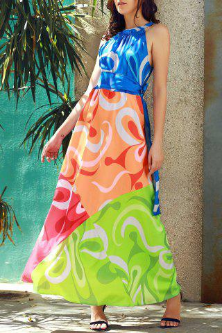Affordable Sleeveless Colorful Maxi Dress - S COLORMIX Mobile