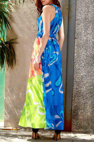 Trendy Sleeveless Colorful Maxi Dress - L COLORMIX Mobile