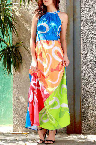 Buy Sleeveless Colorful Maxi Dress - L COLORMIX Mobile