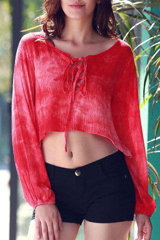 Tie Dye Lace Up Crop Top - Red - M