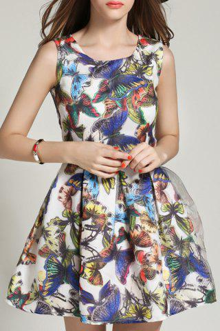 Unique Butterfly Print Sleeveless A Line Dress - M COLORMIX Mobile