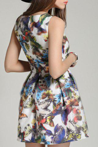 Cheap Butterfly Print Sleeveless A Line Dress - M COLORMIX Mobile