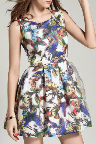 Best Butterfly Print Sleeveless A Line Dress - M COLORMIX Mobile