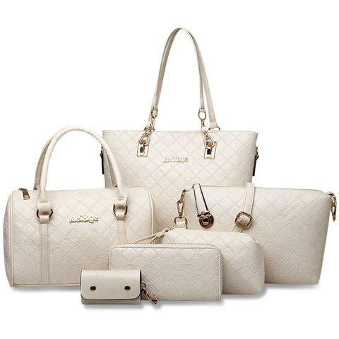 Shops Elegant Checked and PU Leather Design Shoulder Bag For Women - OFF-WHITE  Mobile