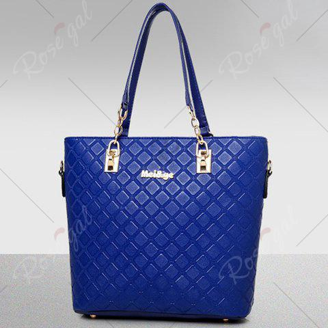 Cheap Elegant Checked and PU Leather Design Shoulder Bag For Women - SAPPHIRE BLUE  Mobile