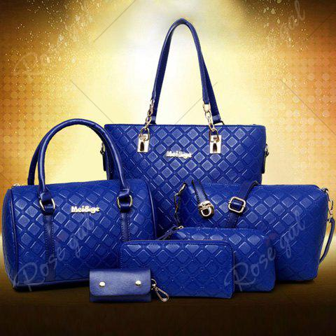 Best Elegant Checked and PU Leather Design Shoulder Bag For Women - SAPPHIRE BLUE  Mobile