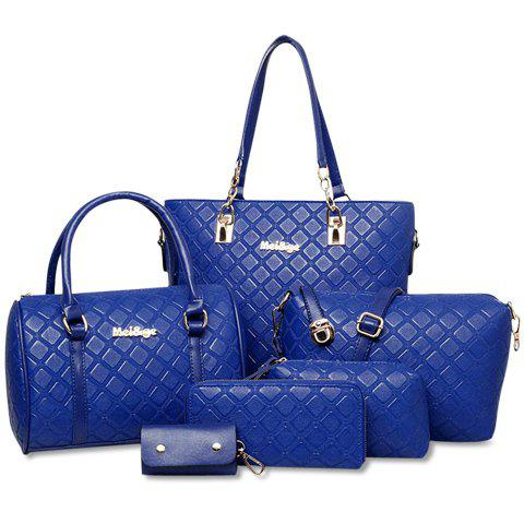 Elegant Checked and PU Leather Design Shoulder Bag For Women - Sapphire Blue