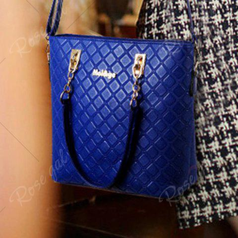 Hot Elegant Checked and PU Leather Design Shoulder Bag For Women - SAPPHIRE BLUE  Mobile