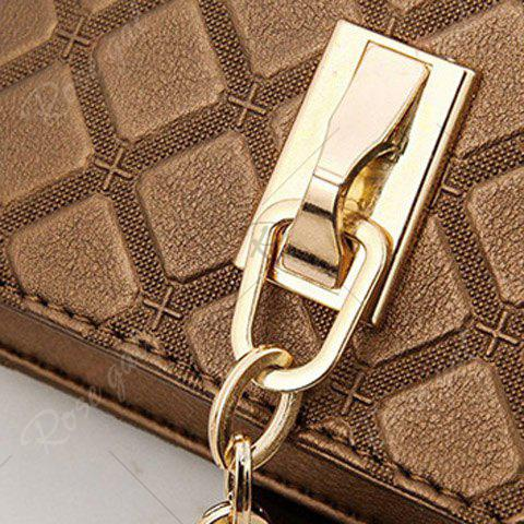 Trendy Elegant Checked and PU Leather Design Shoulder Bag For Women - COFFEE  Mobile