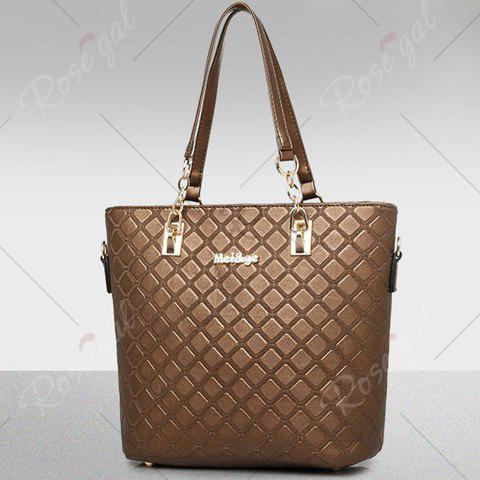 Latest Elegant Checked and PU Leather Design Shoulder Bag For Women - COFFEE  Mobile