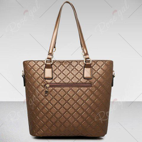 Hot Elegant Checked and PU Leather Design Shoulder Bag For Women - COFFEE  Mobile